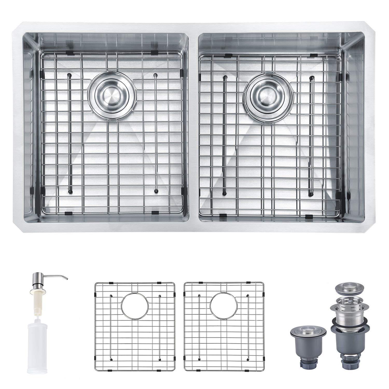 MOWA HUD33DE Pro Series Handmade 33'' 16 Gauge Stainless Steel Undermount 50/50 Double Kitchen Sink - Upgraded w/Perfect Drainage, Bonus Combo w/Soap Dispenser, Basket Strainers & Sink Grids