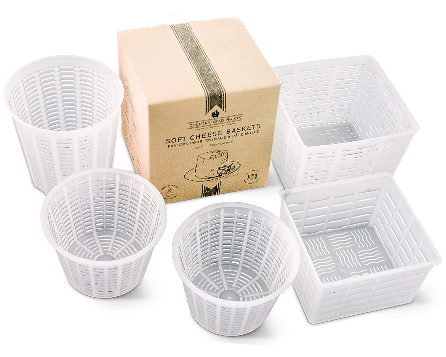 Country Trading Co. Cheese Maker Mould Set of 5 - Baskets for Making Ricotta Quark Cottage and Small Soft Goats Cheeses – Also Great for Paneer Press and Basic Vegan Cheeses – Made in Italy