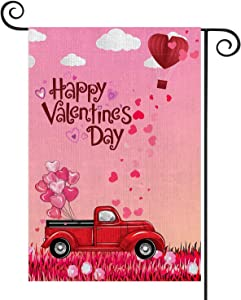 YIWANDA Valentines Day Garden Flag, Double Sided Burlap Valentine House Flags, Love Hearts Balloons Red Truck 12.6x18 inch, Valentines Day Decorations for The Home Yard Outdoor Indoor