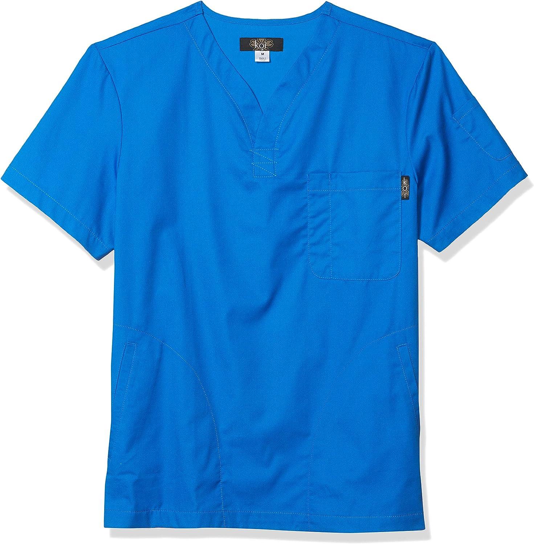 KOI Jason Henley-Neck Men's Scrub Top with 4 Pockets and Pen Slot
