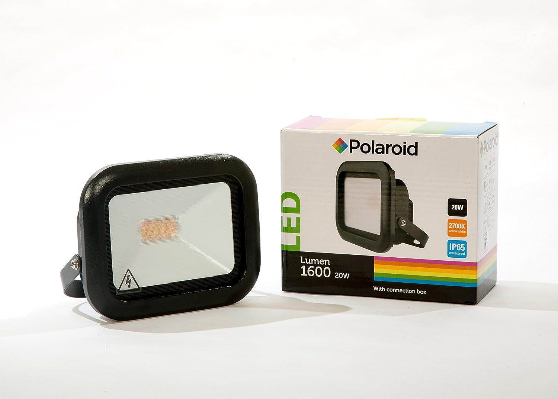 Polaroid LED Fluter 20W, 1600Lm, 2700K, warmweiß, IP65, Flutlicht, Scheinwerfer, Strahler, Floodlight mit Installationsbox warmweiß 24537