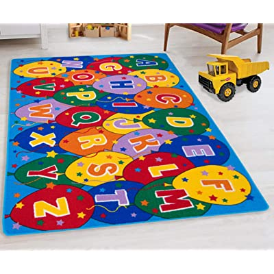 "HR- ABC/Alphabet Balloons Party Accent Kids (7'3"" x 10'2"") Boys/Girls/Children/Toddler Educational Play mat for School/Daycare/Nursery Non-Slip Area Rug/Carpet-Teachers/Students (Blue/Multi): Kitchen & Dining"