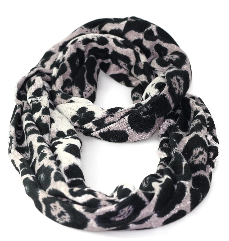 #119 Damen Designer Schal Schlauchschal Rundschal Leoparden Look