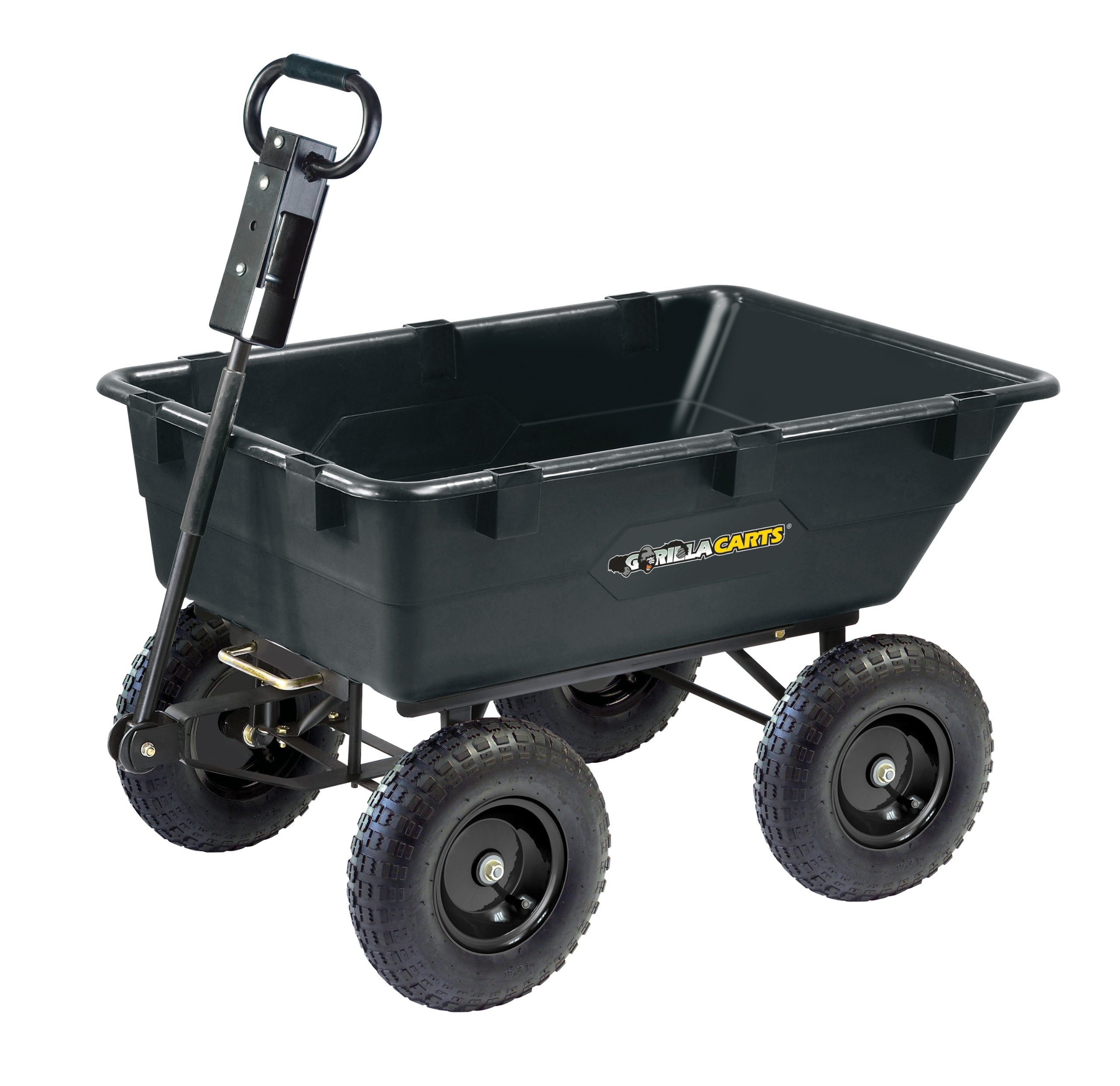 Gorilla Carts GOR866D Heavy-Duty Garden Poly Dump Cart with 2-In-1 Convertible Handle, 1,200-Pound Capacity, 40-Inch by 25-Inch Bed, Black Finish by Gorilla Carts