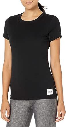 CALVIN KLEIN Women's Crew Neck T-Shirt (Standard and Plus), White, Large