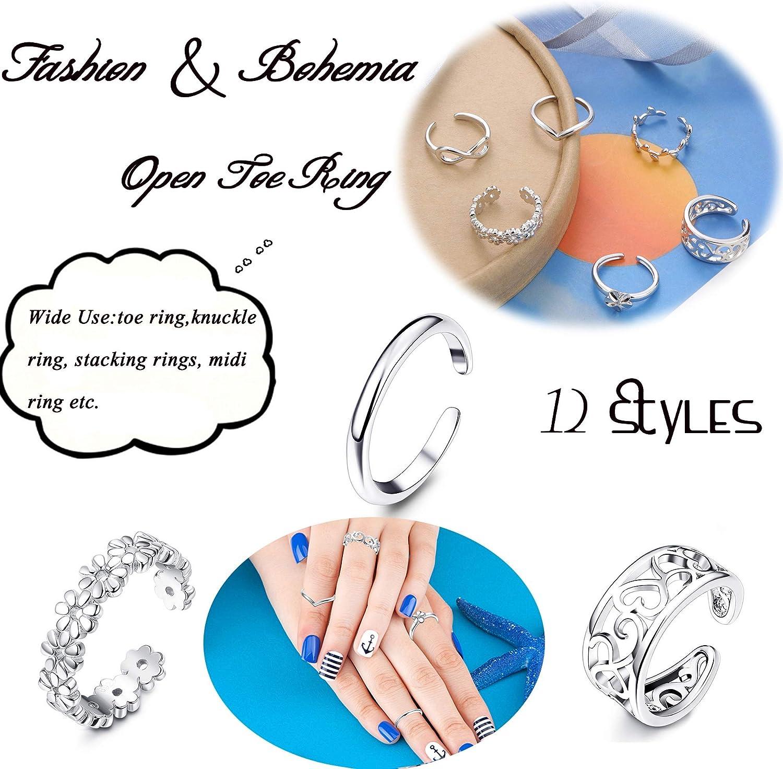 YADOCA 12 Pi/èces Bague Argent Femme Ajustable Bague Fantaisie Infini Vague R/églable Vintage Bague Phalange Set Bague Orteil Pied Toe Ring Knuckle Ring pour Femmes Filles