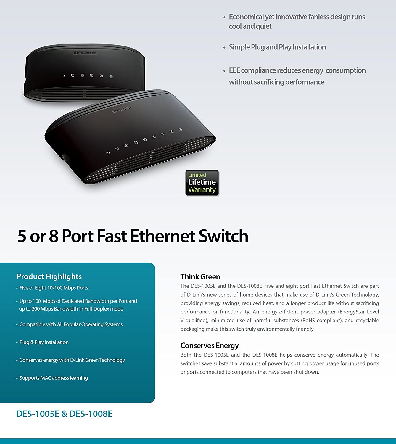 D Link 8 Port Fast Ethernet Desktop Switch Des 1008e How To Install An Jack Electronics