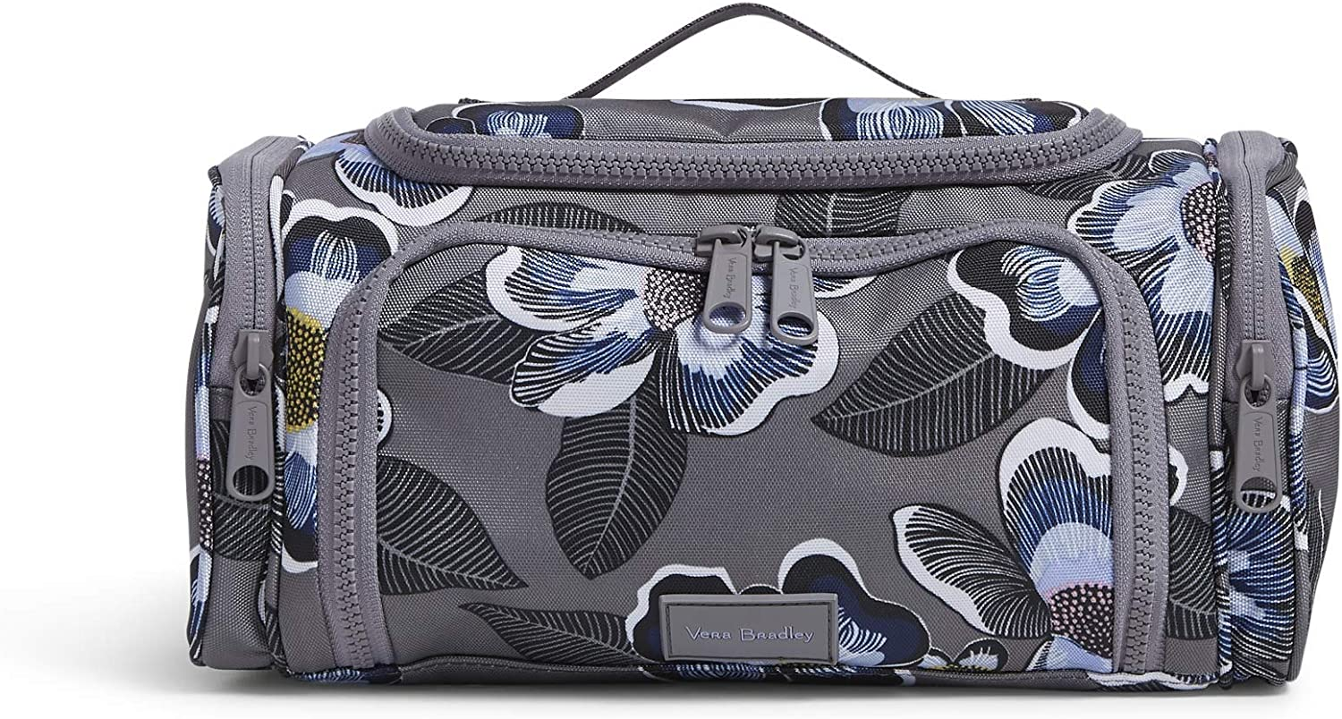 Vera Bradley Women's Recycled Lighten Up Reactive Large Travel Cosmetic Makeup Organizer Bag