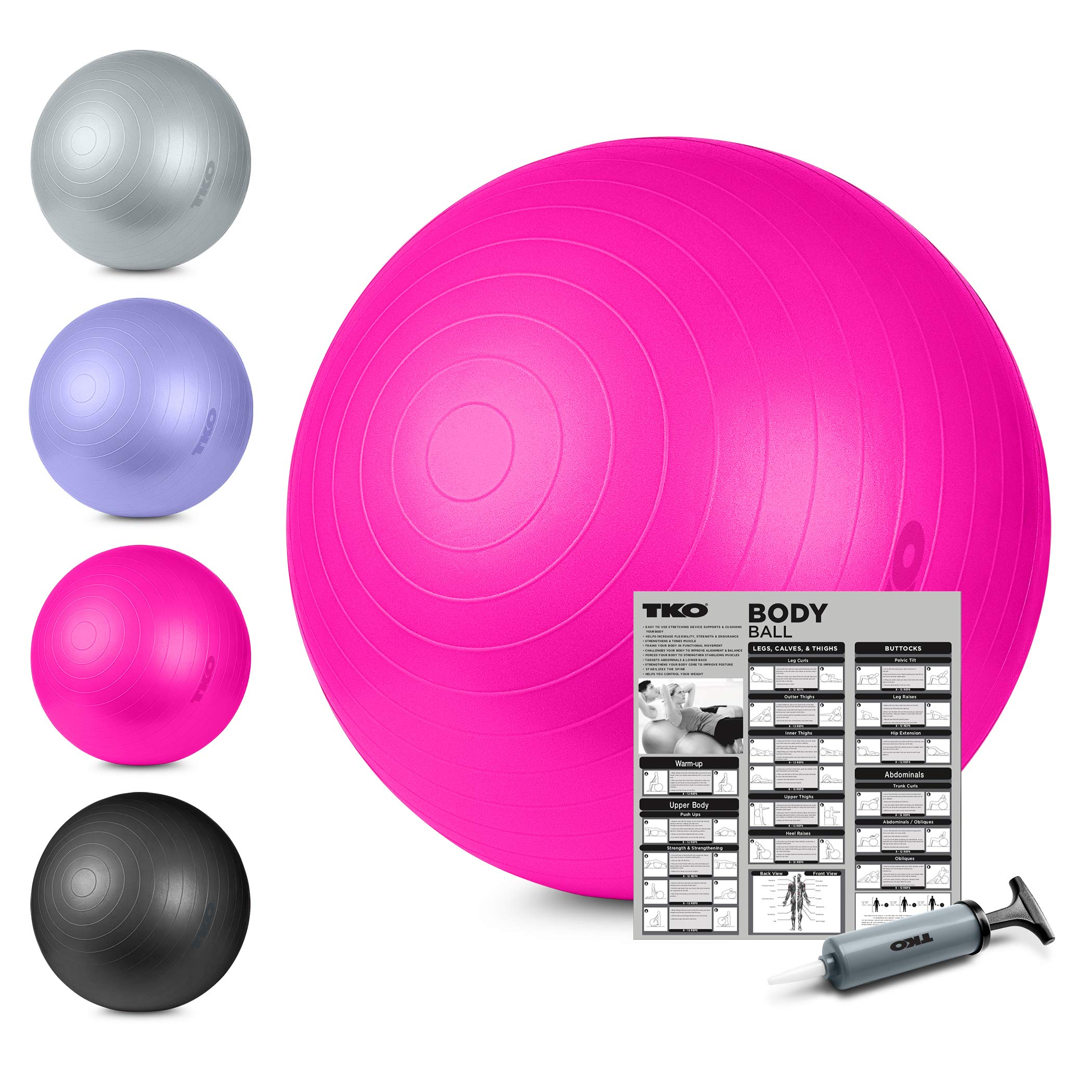 TKO Stability Exercise Ball - Multiple Sizes- for Stability, Fitness, Office, Balance & Yoga- Workout Guide & Pump Included- Anti Burst- Professional Quality (Pink, 65 cm)