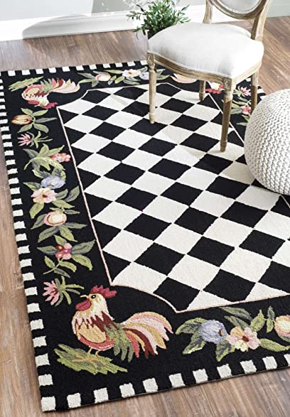 Contemporary Rug Modern Design Rugs Country U0026 Floral 100% Wool Black And  White Hand Hooked