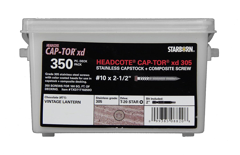 Deckfast CAP-TOR xd Headcote Stainless Steel Grade #305 350 Pack #10 2-1/2