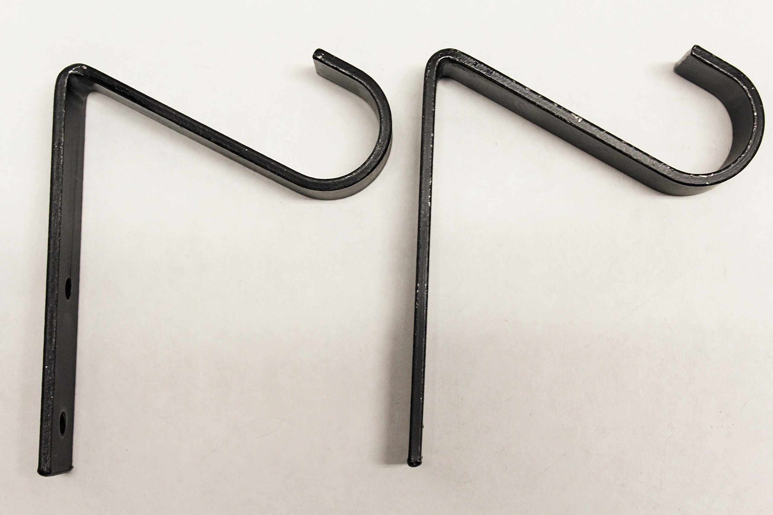 Wrought Iron Single 1'' Curtain Rod Hook (2 Pack) - Hand Made The Amish