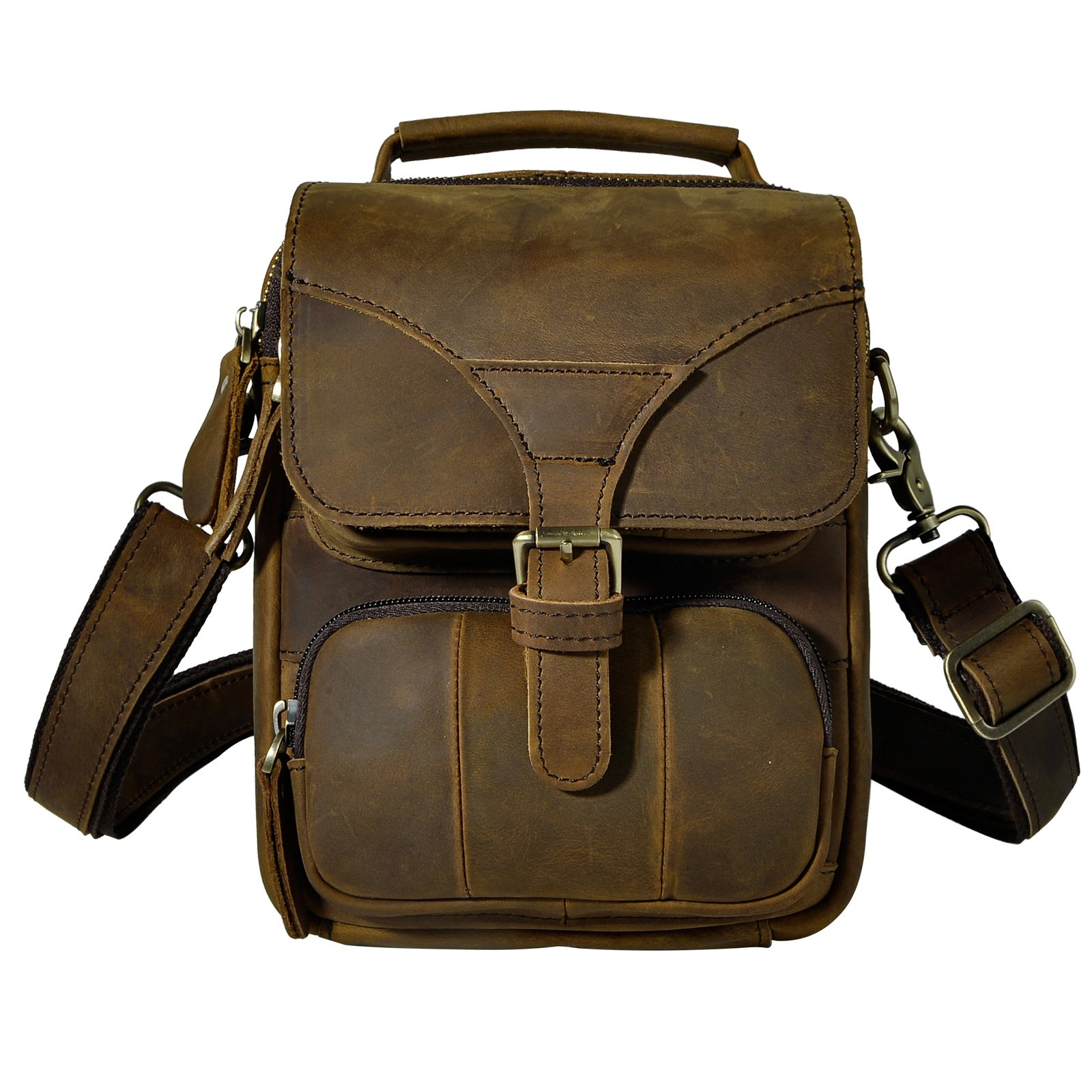 Le'aokuu Men Real Leather Sling Messenger Shoulder Bag Waist Belt Pack Bag Tote 2074 (dark brown)