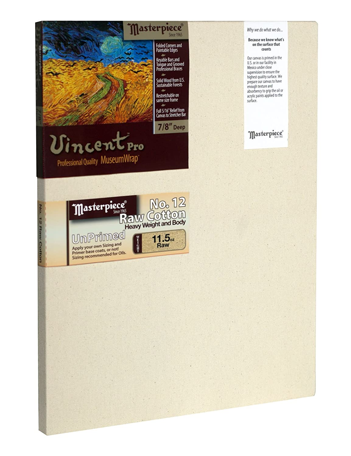 12 x 18 12 Raw Unprimed No Masterpiece Artist Canvas 41731 Vincent PRO 7//8 Deep Cotton 11.5oz