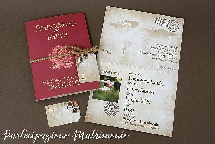 6906311feb84 Partecipazioni matrimonio personalizzate - inviti nozze passaporto vintage  con mappamondo disponibile in tutti i colori 10