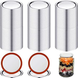 100 Pieces Mason Canning Lid Jar Split-Type Lids with Silicone Seals Rings Compatible with Mason Jar Can Reusable Leakproof Lids Storage Solid Caps Flat Sealing Caps