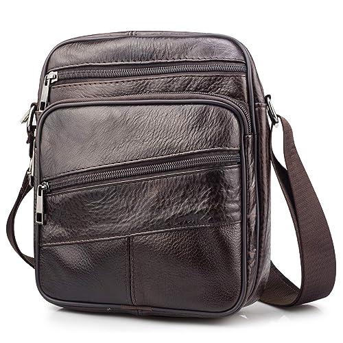 BAGZY Bolso de hombro de cuero Bolsa de mensajero Crossbody Cartera Bolso Mango Viajar Maletín Bolsa