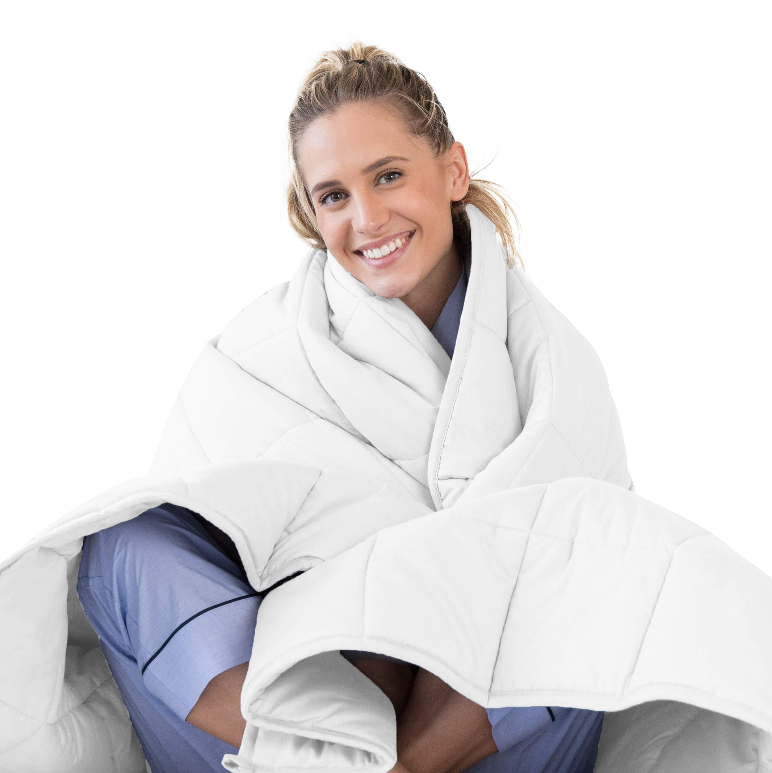 LUNA Weighted Blanket (20 lbs - 60x80 - Queen Size) - Organic Cooling Cotton & Premium Glass Beads - Designed in USA - Heavy Cool Weighted Blanket for Hot & Cold Sleepers - Kids or Adult - White by LUNA