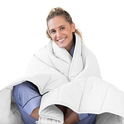 LUNA Weighted Blanket (15 lbs - 60x80 - Queen Size) – Organic Cooling Cotton & Premium Glass Beads – Designed in USA – Heavy Cool Weighted Blanket for Hot & Cold Sleepers – Kids or Adult – White