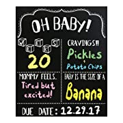 JennyGems Pregnancy Announcement Chalkboard and Photo Prop - Pregnancy Tracker Chalkboard - Extra Large Size 14 x 16 - Gender Reveal Monthly Milestones Countdown Week by Week Tracker Board