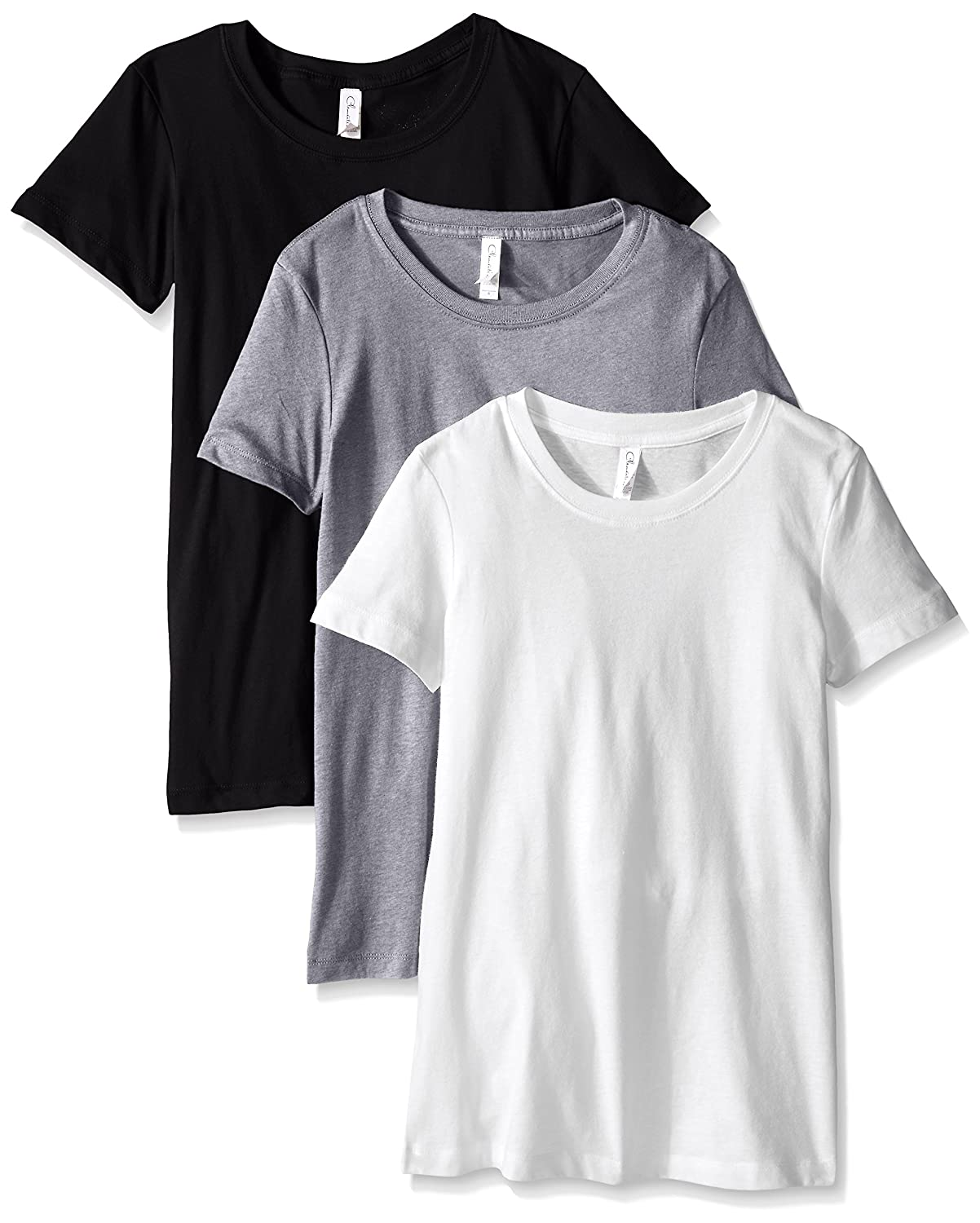 Clementine Apparel Women's 3 Pack Short Sleeve T Shirt Easy Tag V Neck Soft Cotton Blend Undershirts (1510) by Clementine Apparel