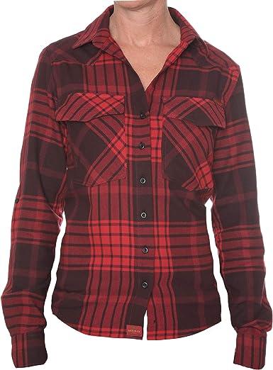 ROCK-IT Apparel® Camisa de Franela Mujer Camisa de leñador a Cuadros en Tallas Europa S-XL Color Rojo/Negro: Amazon.es: Ropa y accesorios