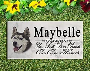 Broad Bay Siberian Husky Dog Memorial Stone Personalized Husky Sign Garden Marker Outdoor Grave Headstone Plaque