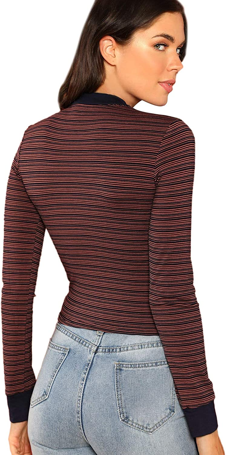long sleeve Multicolor Mock-neck Form Fitted Striped Top Slim Shirt Women Autumn