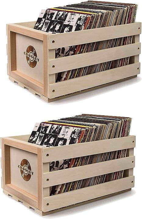 Crosley rústico caja de almacenamiento para discos de vinilo de ...