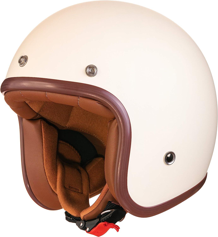 Original Fräulein Irmi Retro Vespa Helm Jet Helm Mit Sonnen Visier Roller Helm Für Frauen Und Herren Im Edlen Vintage Look Qualität Nach Ece Norm Creme Matt Auto