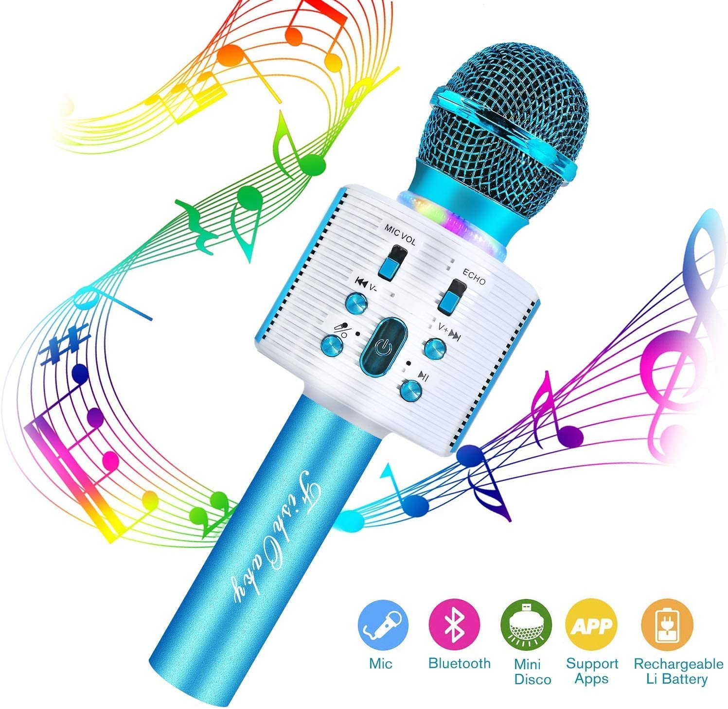 FishOaky Wireless Bluetooth Karaoke Microphone