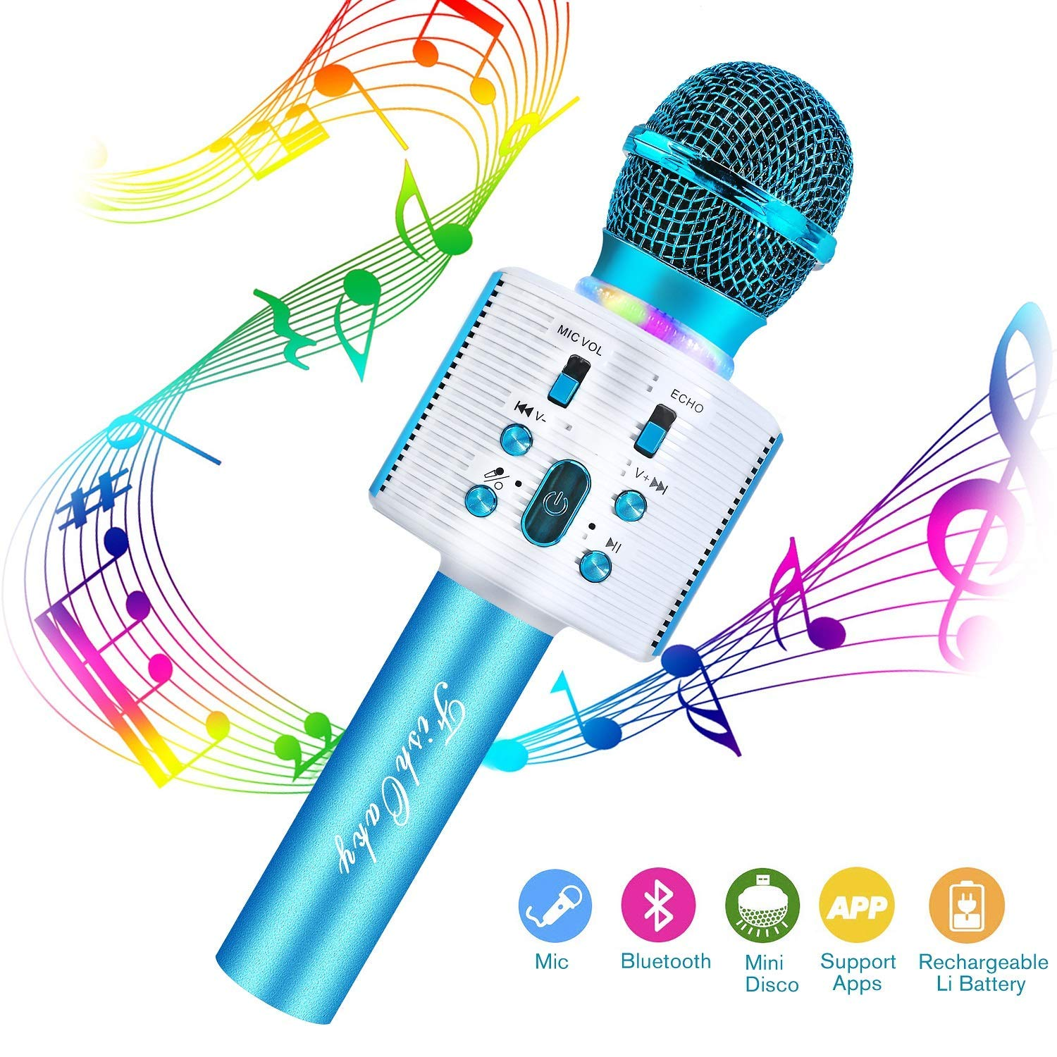 FishOaky Wireless Bluetooth Karaoke Microphone, Portable Kids Microphone Karaoke Player Speaker with LED & Music Singing Voice Recording for Home KTV Kids Outdoor Birthday Party by FishOaky
