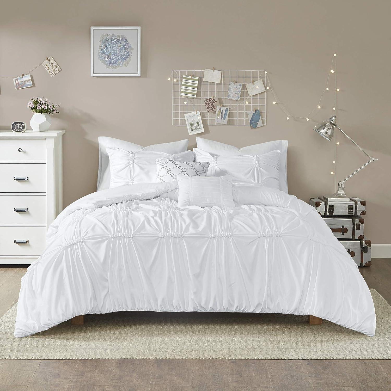 intelligent design id10 1343 benny 4 piece metallic elastic embroidery comforter teen bedroom bedding sets twin twin xl size white