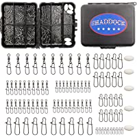 Fishing Swivels Kit 95pcs Black Fishing Snaps and Swivels Connectors with Portable Travel Box for Bass Trout in…