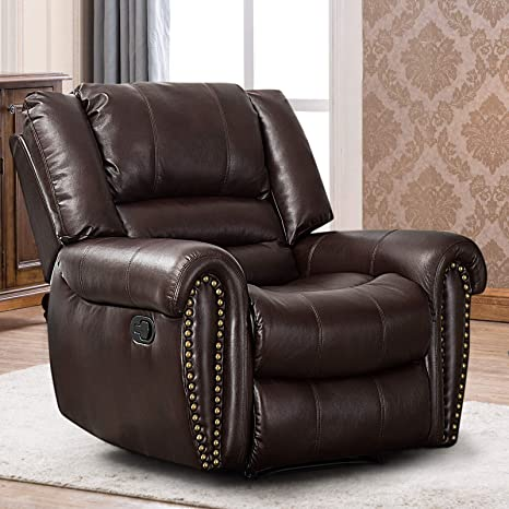 Swell Canmov Leather Recliner Chair Classic And Traditional Manual Recliner Chair With Overstuffed Arms And Back Brown Machost Co Dining Chair Design Ideas Machostcouk