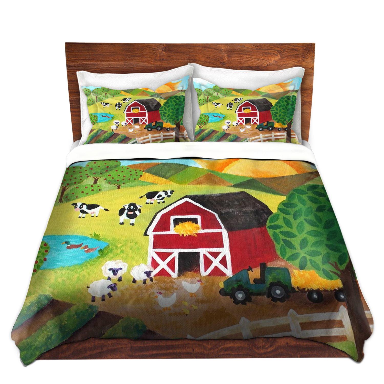 DiaNoche Designs Nicola Joyner Njoy Art Unique Home Decor Bedding Ideas Daybreak on the Farm Cover, 7 Queen Duvet Sham Set