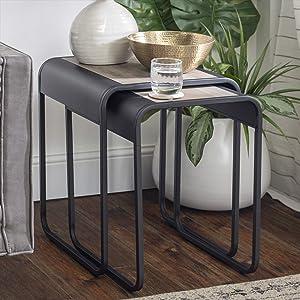 Walker Edison Curved Metal Frame Nesting Side Accent Set Living Room Storage End Table, Grey Wash
