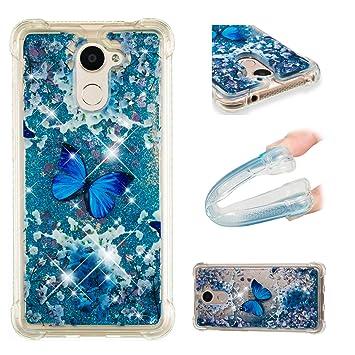 Funluna Funda Huawei Y7 2017 / Y7 Prime 2017, Carcasa Glitter Líquido 3D Bling Silicona Flowing Brillar Sparkle Cristal Choque Absorción Cubierta para ...