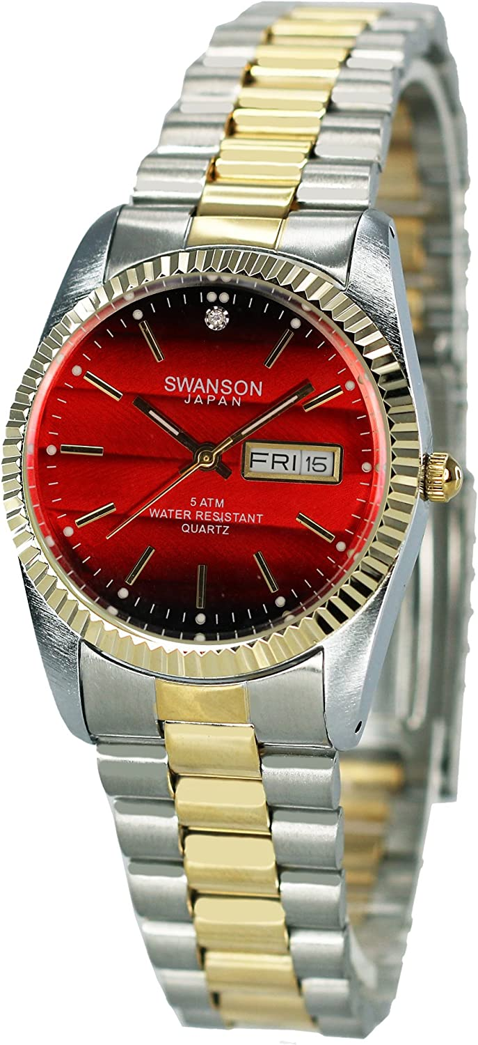 Swanson Men's Two-Tone Day-Date Watch Red Dial with Travel Case