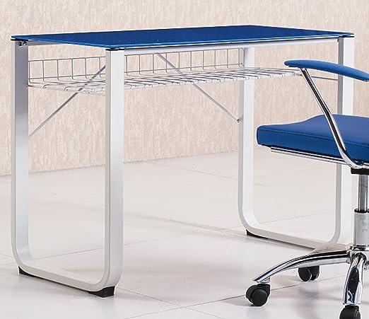 Mesa de estudio escritorio juvenil con cristal templado azul de ...