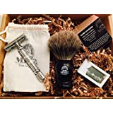 Mike the Mason Complete Wet Shave Kit   Kit Includes: 1 Hawk Razor, 1 Badger Hair Brush, 1 Organic Honey Oatmeal Shave Bar, 5 Premium Blades, and a Razor Stand