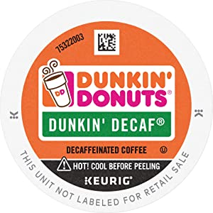 Dunkin' Donuts Decaf Medium Roast Coffee, 88 K Cups for Keurig Coffee Makers