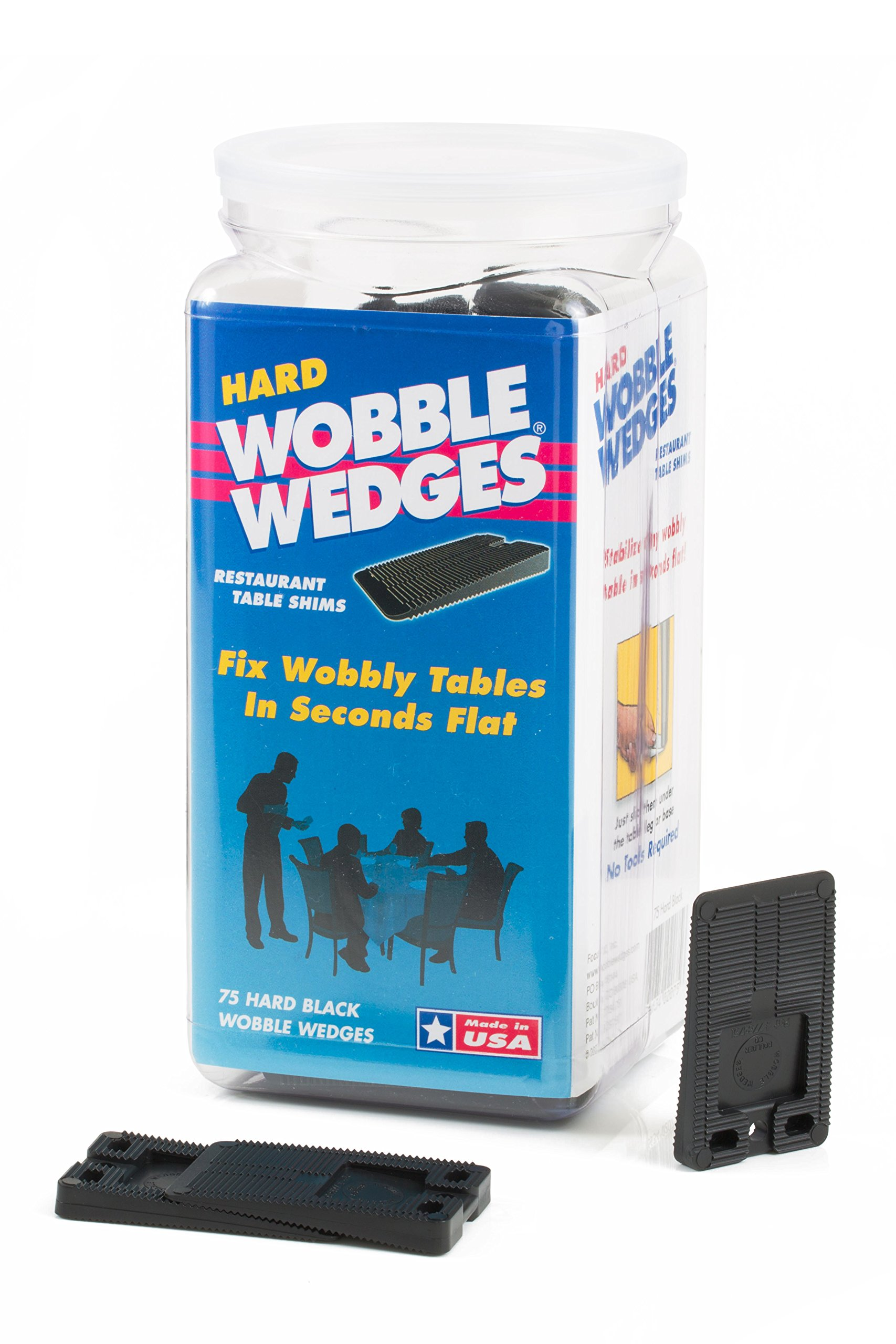 WOBBLE WEDGES Stackable Interlocking Multi-Purpose Leveling Shims - Hard Black Plastic - 75 Pack - Level Furniture, Restaurant Tables, Appliances, Plumbing Fixtures, Tables, Fountains, and More