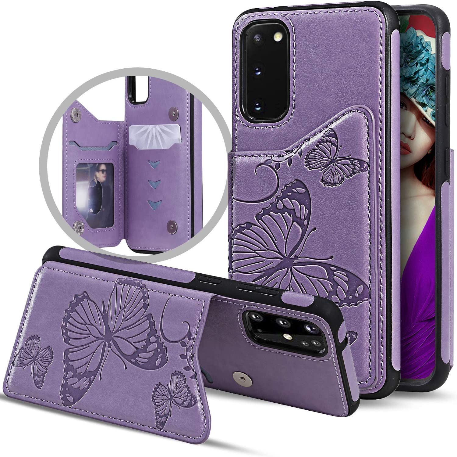 Purple Adirva Samsung S20 Wallet Case with Card Holder Embossed Butterfly PU Leather Kickstand ID Credit Card Slots Shockproof Flip Cover for Galaxy S20 6.2 Inch