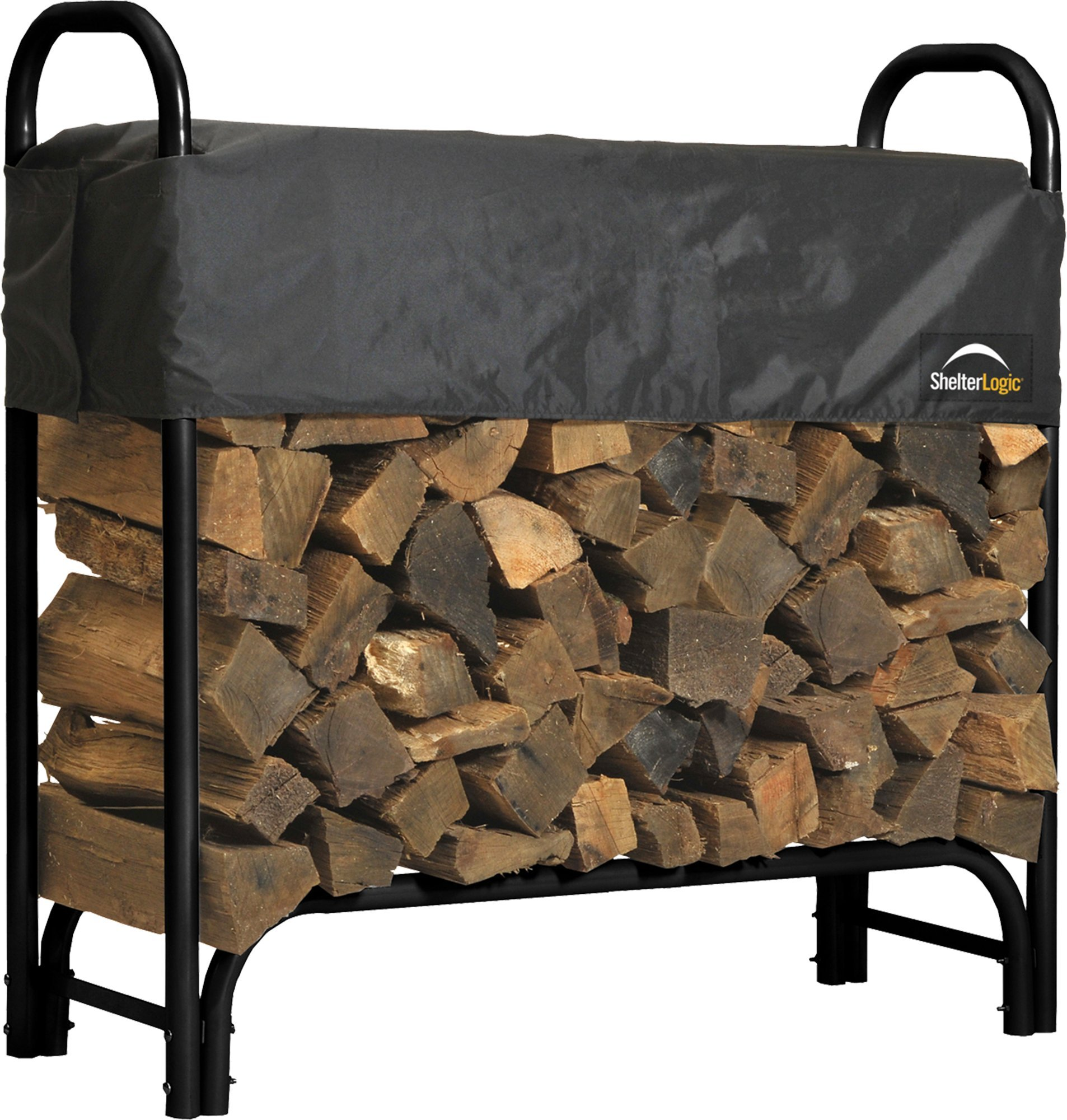 ShelterLogic 4' Adjustable Heavy Duty Outdoor Firewood Rack with Steel Frame Construction and  Water-Resistant Cover by ShelterLogic