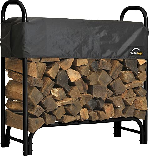 Heavy Duty Outdoor Firewood Rack with Steel Frame