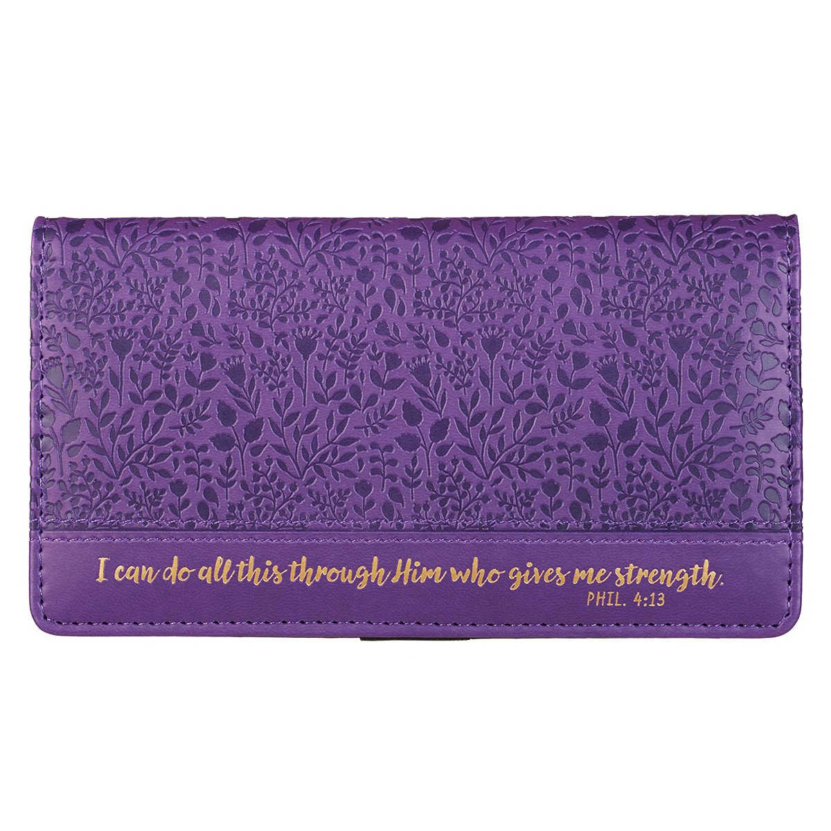 Checkbook Cover: I Can Do All This, Filigree Debossed LuxLeather, Purple 00_RYRWHIIT_02