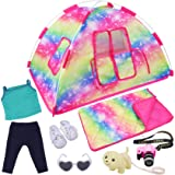ZITA ELEMENT 7 Items Fashion Doll Camping Tent Set for American 18 Inch Girl Doll Accessories - Including 18 Inch Doll Campin