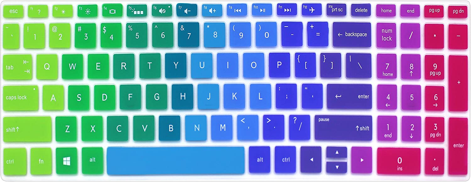 "Silicone Keyboard Cover Skin for for 15.6"" HP Pavilion x360 15-br075nr, Pavilion 15-cc 15-cb Series 15-cc010nr 15-cb010nr, HP Envy x360 15m-bp 15m-bq Series, HP Envy 17.3"" 17m-ae011dx (Rainbow)"