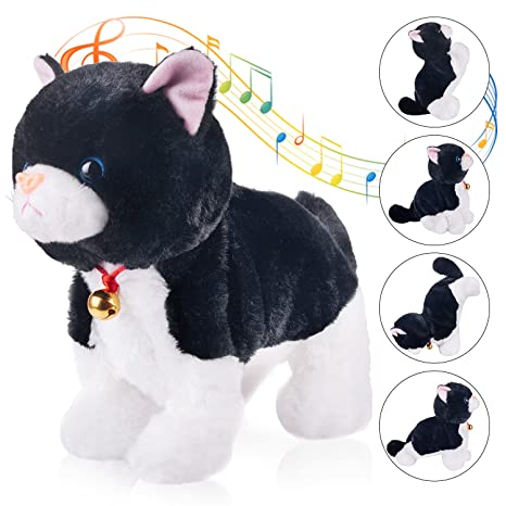 amazon com marsjoy black interactive cat plush animated pet